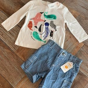 "Nwt Gymboree boys ""save our waves"" tee w/shorts"